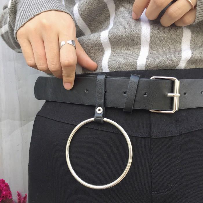 Pinene ✓復古百搭純色超大金屬圓環裝飾針扣pu 皮帶腰帶