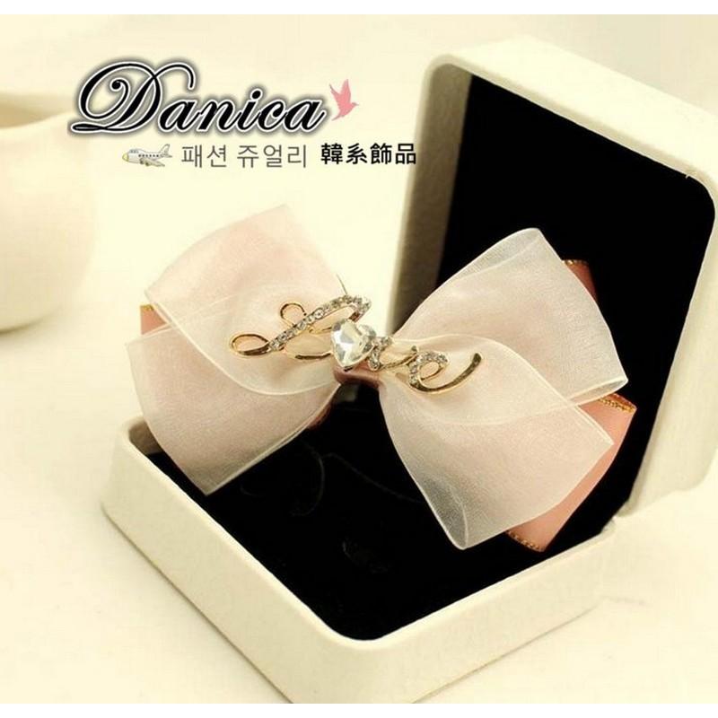 彈簧夾 韓國 甜美浪漫手作閃亮緞帶立體蝴蝶結LOVE 水鑽髮夾彈簧夾K7642 單個價Da