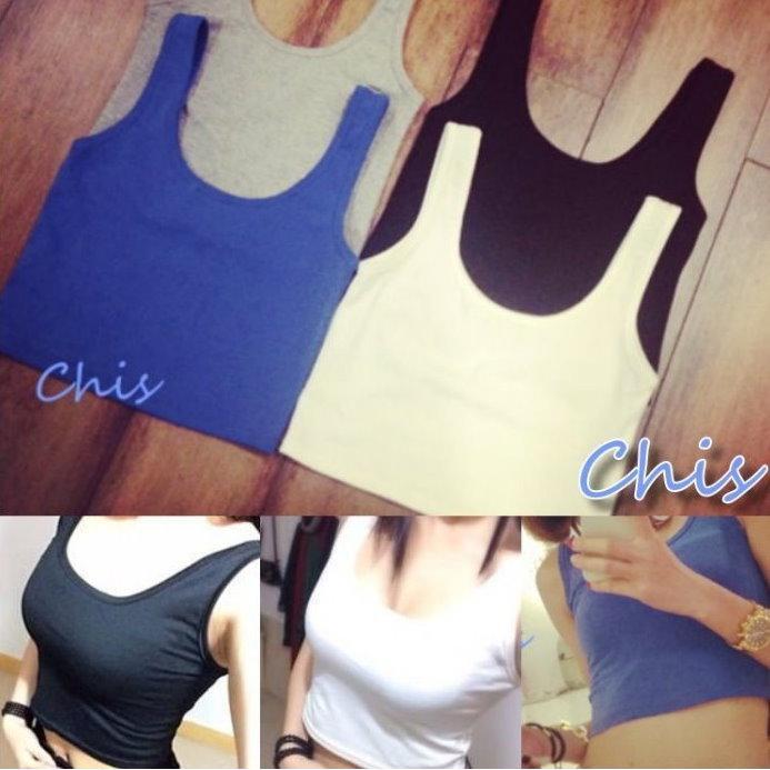 Chis Store ~背心~夏日 素面百搭超短T 露腰挖背圓領貼身高腰軟棉短袖短版上衣可