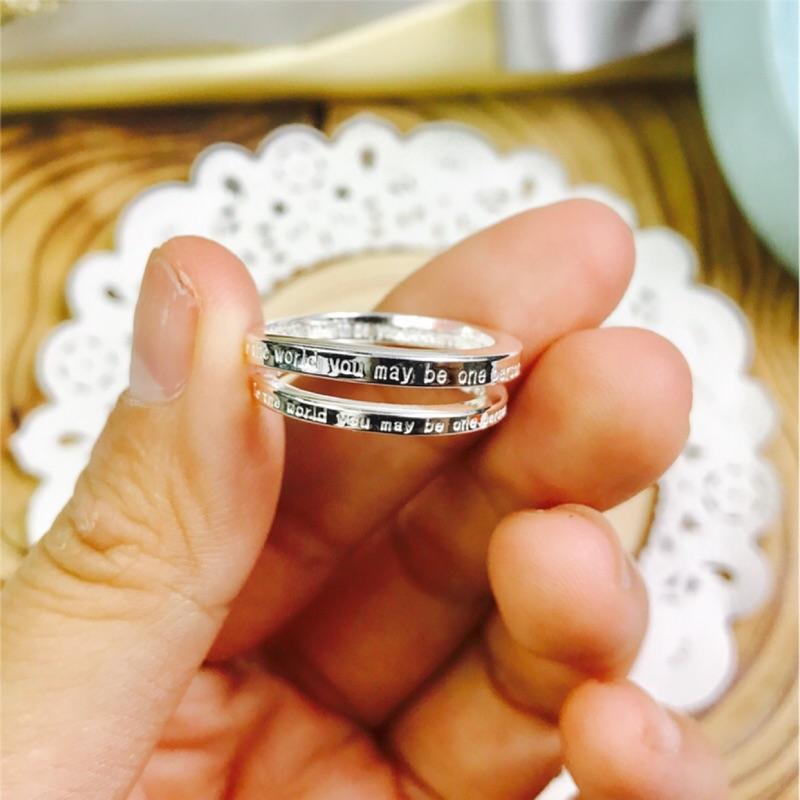 香港正生純銀男女情侶款誓言英文字母告白開口戒指簡單好看