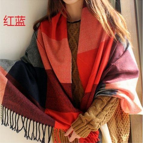 圍巾女秋 長款加厚保暖圍巾披肩兩用學生格子圍脖