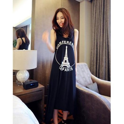 莫代爾寬鬆連身長裙艾菲爾鐵塔圖騰背心裙休閒莫代爾棉長裙長洋裝長版上衣黑實穿照