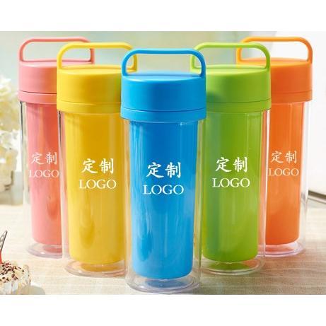~肥仔小窩~ 可DIY 手提式便攜糖果色彩色手提杯水杯塑料杯雙層隔熱杯雙層杯隔熱杯隨身杯杯
