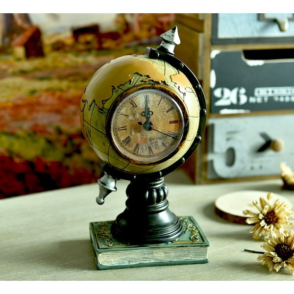 歐式複古 電話、地球儀座裝飾時鐘擺件