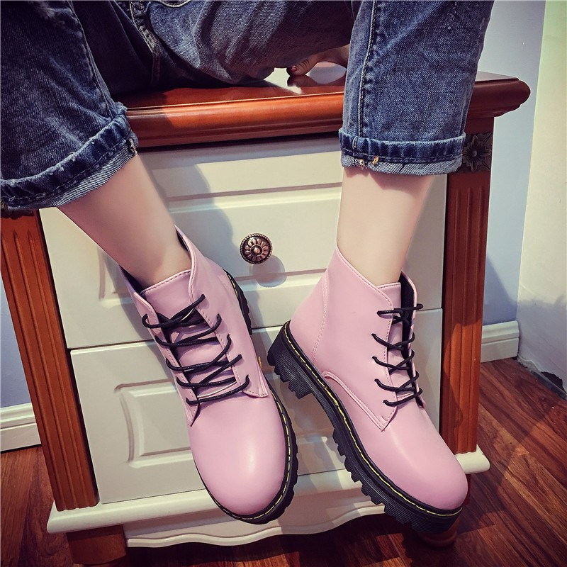 ~小光頭商店~ 英倫復古黑色高幫圓頭短靴原宿松糕厚底馬丁靴系帶女單鞋