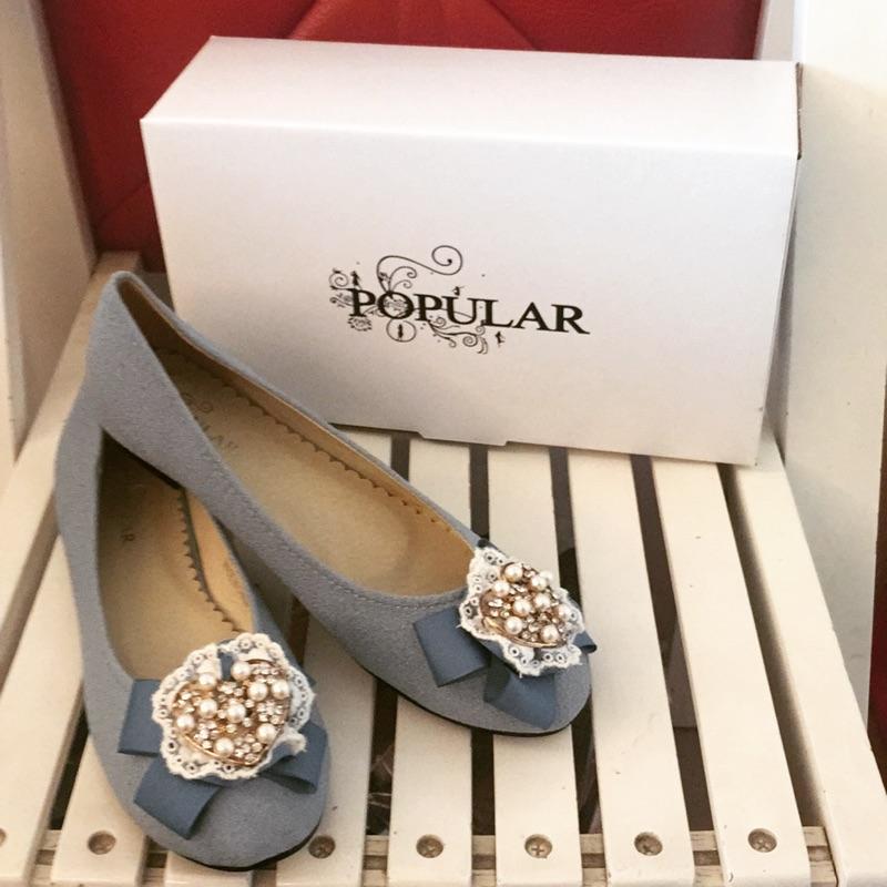 公主風甜美粉紅色水藍色珍珠愛心蕾絲娃娃鞋包鞋平底鞋尺寸35 到40 賠售即期品