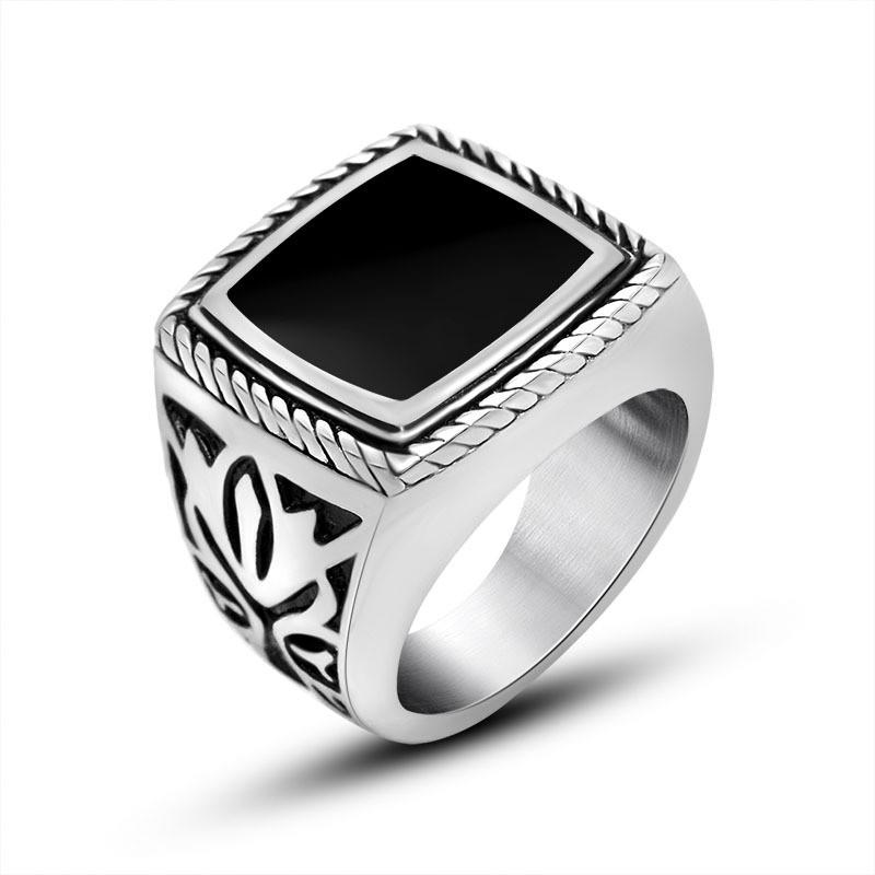 8 14 男士霸氣復古滴膠戒指潮男飾品浮雕神秘花紋戒指鈦鋼指環SA905