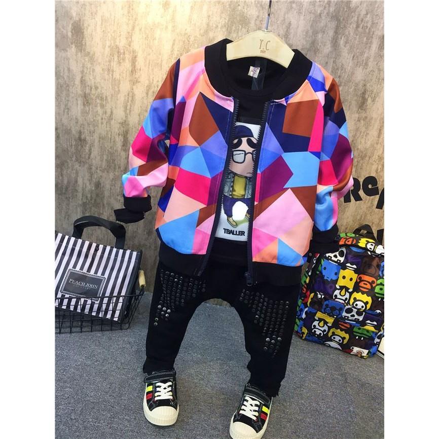 C1179 男童帥氣幾何圖拉鏈衫外套兒童彩色圓領夾克衫上衣外套MAMA 咪呀 衣鋪