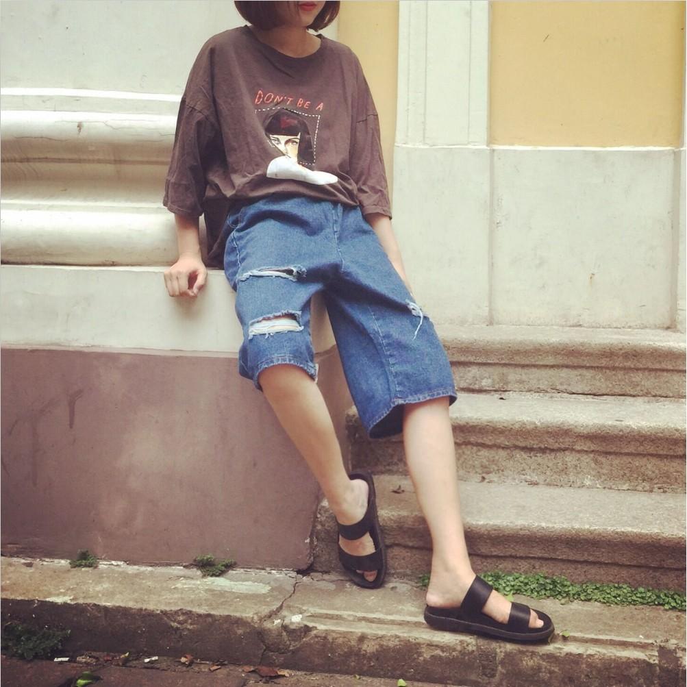 新品 寬鬆休閒純色韓流BF 破洞鬆緊腰牛仔褲潮流 五分牛仔中褲