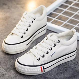 ~K322 白35 40 ~ 潮低筒內增高厚底帆布鞋學生鞋女鞋鬆糕鞋休閒鞋D