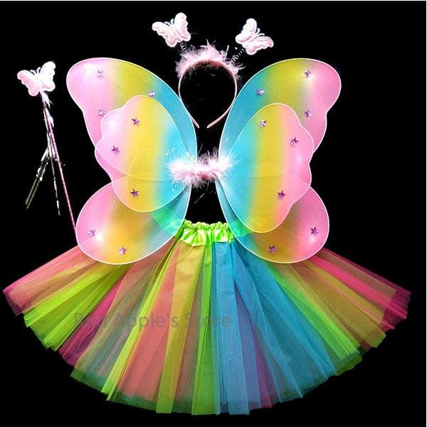 C2 67 紅蘋果的店萬聖節服飾派對舞會聖誕節、表演星星彩虹仙子翅膀四件套