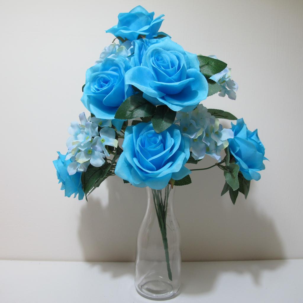 ~樂提小舖~01017 繡球玫瑰花束6 色 假花人造花人造玫瑰花藍玫瑰捧花