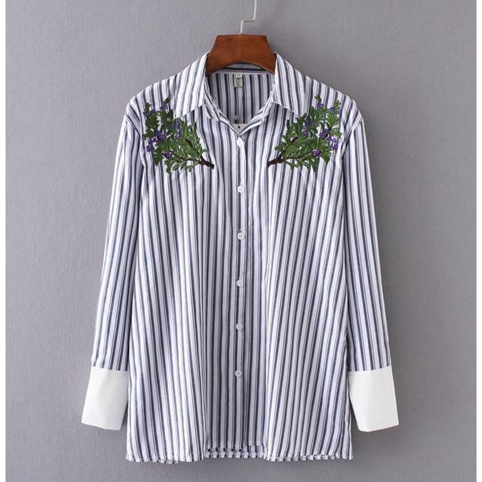 LF7347 原單清新百搭灰藍配白直條紋小花樹枝刺繡純色拼接袖口翻領長袖襯衫