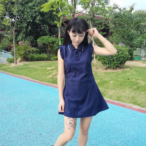 甜美學院風可愛無袖荷葉邊polo 領排扣收腰連衣裙短裙
