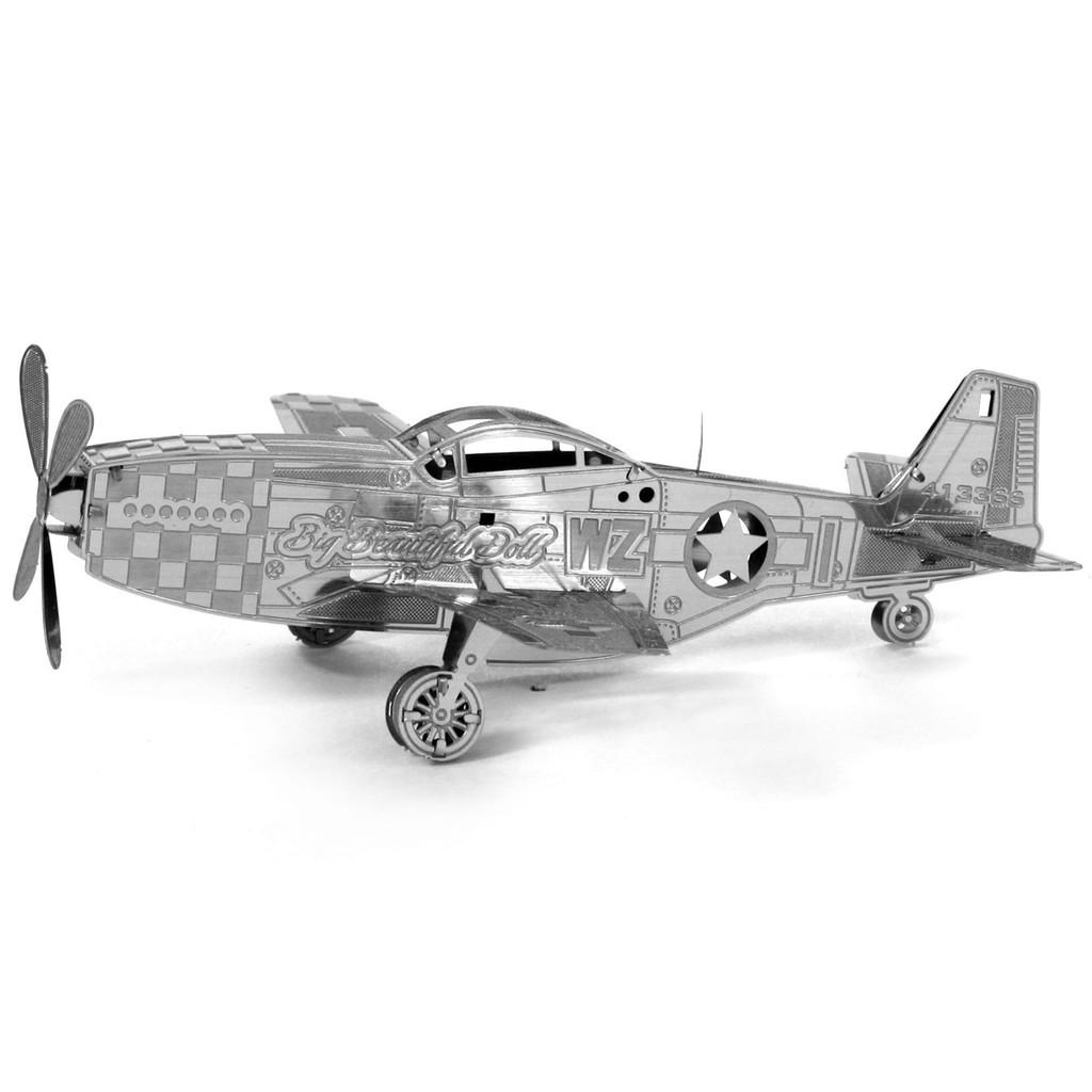 3D 金屬模型微型DIY 納米金屬野馬飛機立體拼圖銀色