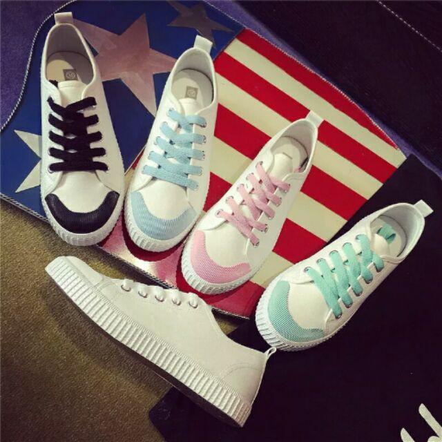 ( )白色帆布鞋女鞋原宿風小白鞋平底休閒鞋學生 平跟繫帶球鞋布鞋