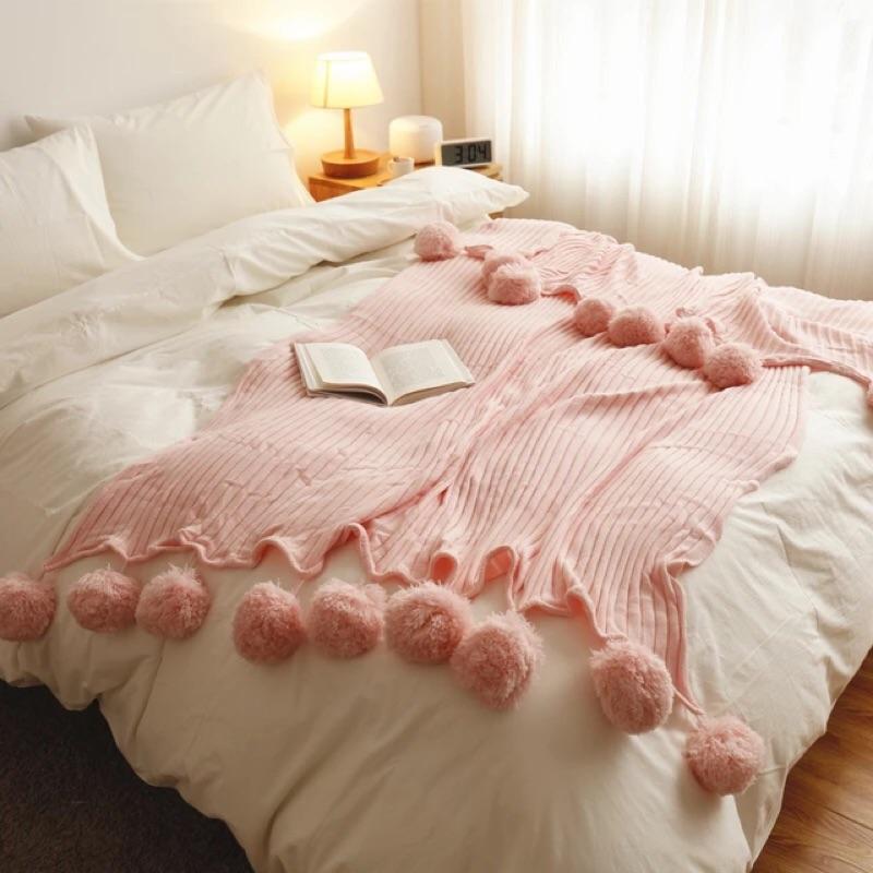 Ins 梨花針織純棉空調毯蓋毯毯子公主北歐棉被枕套枕套床單被套
