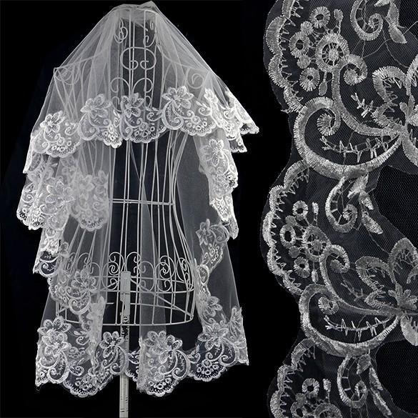 新娘配飾復古風格女士白色婚紗蕾絲頭紗