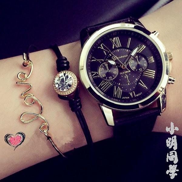 潮流手錶女學生 簡約女士石英表假三眼手錶男情侶非機械表