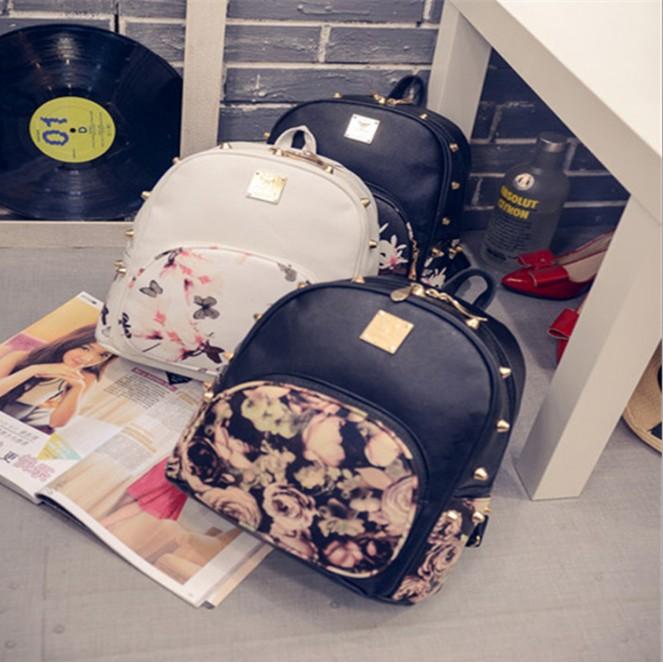 韓風印花玫瑰花蝴蝶鉚釘花朵 學院風雙肩包後背包背包~G053 ~