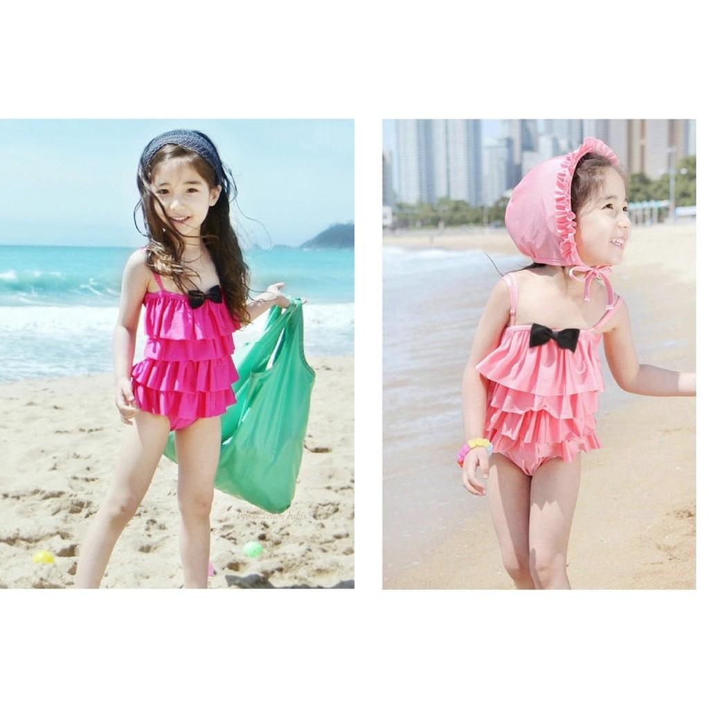 水之舞兒童泳衣連身一件式蛋糕裙含泳帽泳衣泳裝幼稚園小童中童