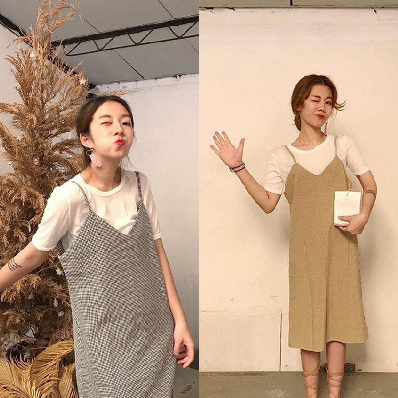 韩版洋裝文藝小清新短袖女裝T 恤上衣V 領格子氣質顯瘦開叉吊帶裙連衣裙女