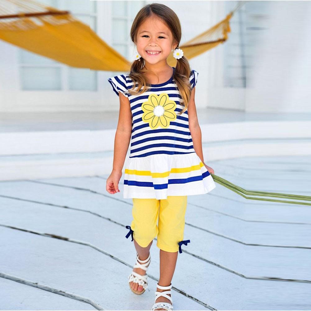 可愛女童服裝條紋短袖褲子女童套裝夏款女寶雛菊印花