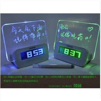 现货C 款 留言板時鐘多 螢光留言板鬧鐘LED 鬧鐘有HUB USB 2 0 畢業  聖誕