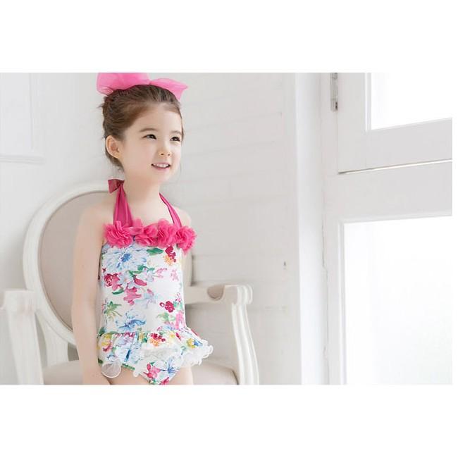 夏 換 氣質小花層次裙襬連身泳衣