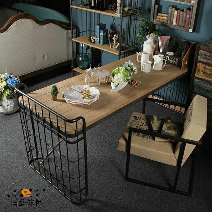 179 復古鐵藝實木書桌簡約電腦桌椅松木雙人書桌寫字台辦公桌工作桌子