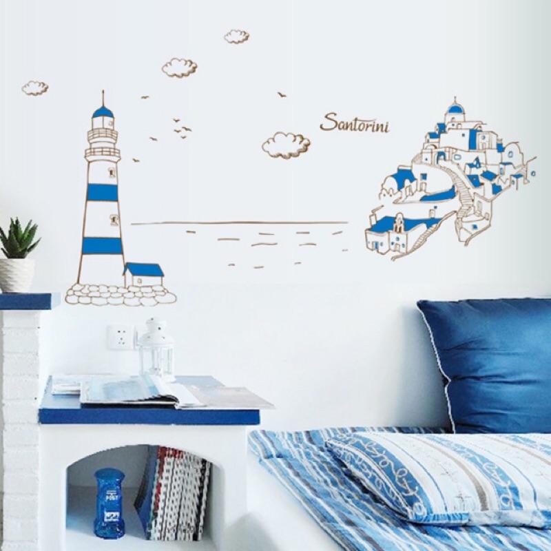 地中海城堡藍色海港地中海風情海邊風景壁貼PVC 壁貼裝置藝術房間客廳佈置浴室