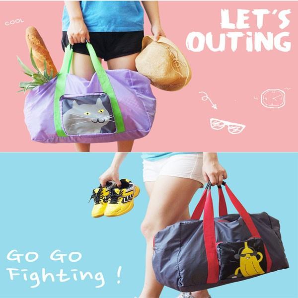 旅行包U PICK 超輕薄摺疊收納西瓜香蕉龍貓夏日海灘防水旅行袋肩背包紅色紫色輕巧大容量大
