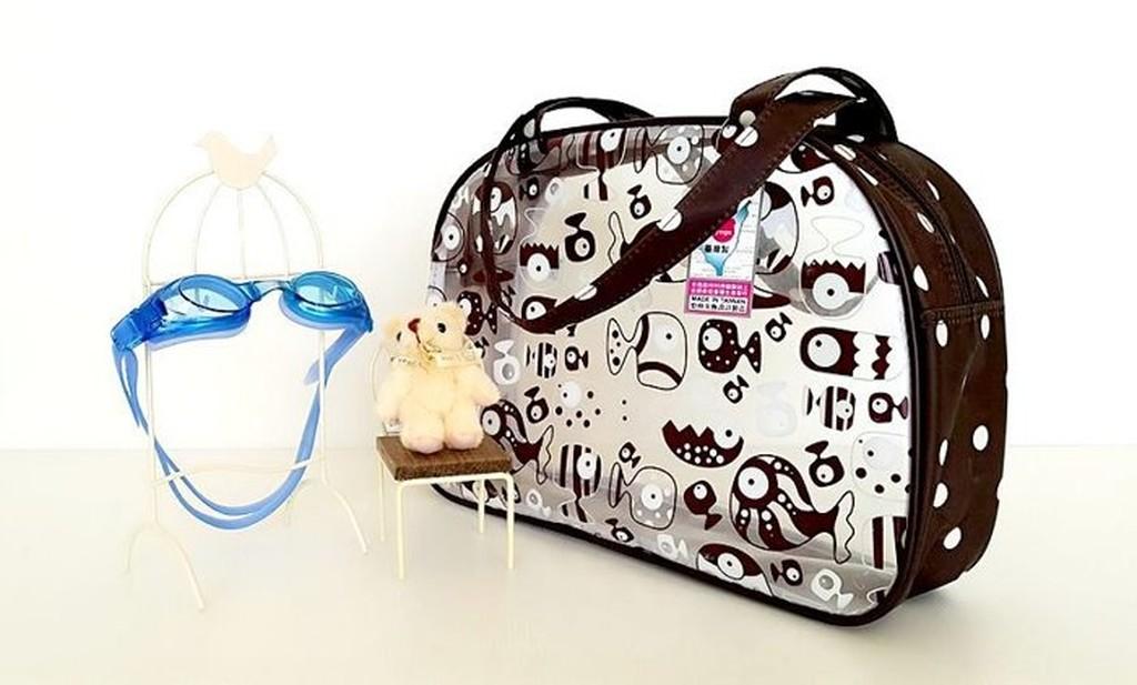 悠格~YOGSBEAR ~ F 透明防水袋游泳袋海灘袋手提袋手提包D09 咖啡色
