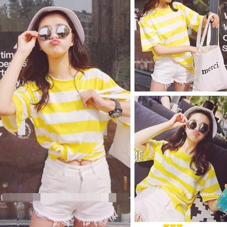 ❤ ❤夏裝 學院風大碼寬鬆萬能百搭休閒糖果色黃白條紋短袖T 卹女潮