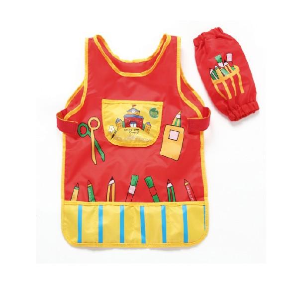 美樂防水畫畫衣兒童繪畫畫罩衣袖套3 件套裝幼兒繪畫用衣服反穿衣