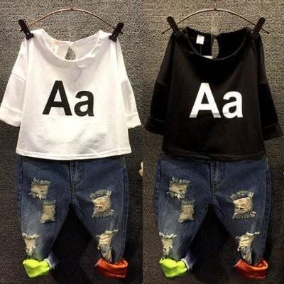 ღ瑪琪朵小舖ღ2016  男童女童 好版型破洞磨破彩色內裡超百搭牛仔褲長褲