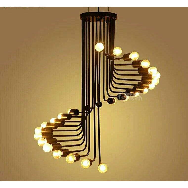 422 美式復古loft 工業風 燈具螺旋狀咖啡廳餐廳酒吧台鐵藝吊燈