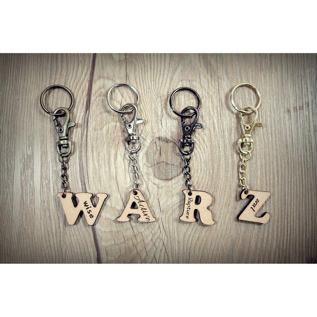 ~Warz 革木記事~手作皮革真皮客製吊飾掛飾字母鑰匙圈畢業 生日 情侶