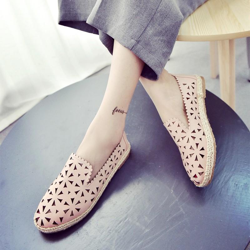 單鞋女平底休閒鞋透氣鏤空尖頭洞洞鞋 學生懶人鞋高跟鞋單鞋豆豆鞋涼鞋懶人鞋厚底鞋