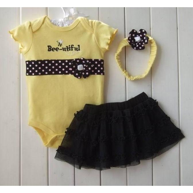 女童寶寶嬰幼兒黃色小蜜蜂短袖飛袖包屁衣哈衣連身衣紗裙tutu 裙髮帶三件式套裝 服周歲拍照
