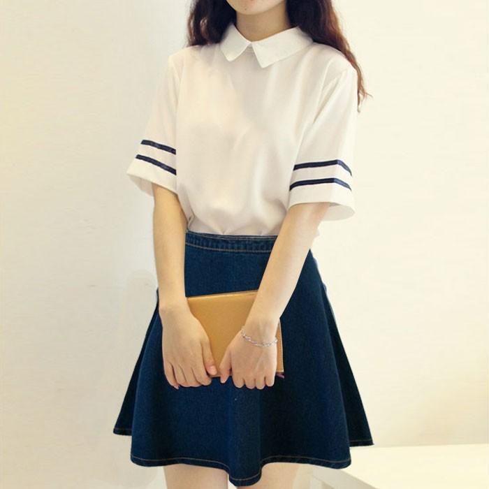 14 16 歲女孩夏裝 服15 初中學生校服學院風套裝裙兩件套小清新