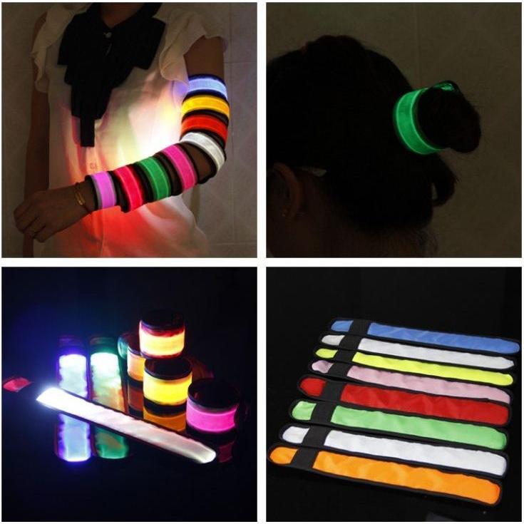 韓國發光LED 拍拍手腕帶發光手臂帶夜光手環騎車跑步登山燈發光髮帶