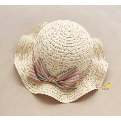 最後一頂51CM 10 蝴蝶結條紋海灘度假風立體草帽遮陽帽帽子有彈性綁帶頭圍49 51 5