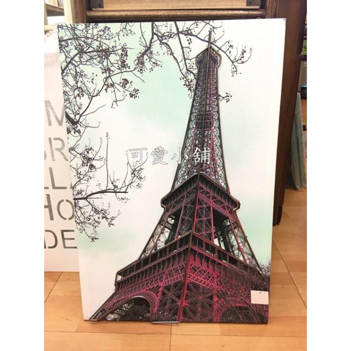 台中~可愛小舖 家飾 ~歐式古典鄉村風紅色巴黎鐵塔無框畫帆布畫複製畫油畫復古街頭掛畫壁畫壁