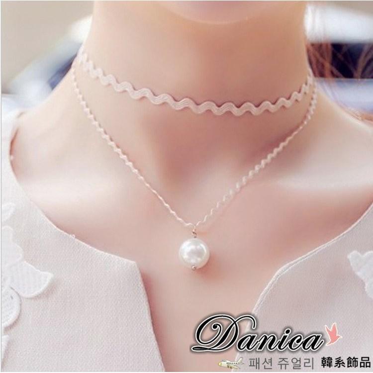 項鍊 韓國 氣質手作性感波浪雙層珍珠短項鍊鎖骨鍊2 色K2348 價Danica 韓系飾品