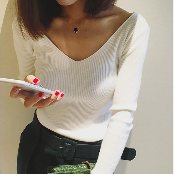 價JDC 秋裝 氣質性感大V 領純色打底衫長袖套頭針織衫學院風上衣韓妞 t 女韓國