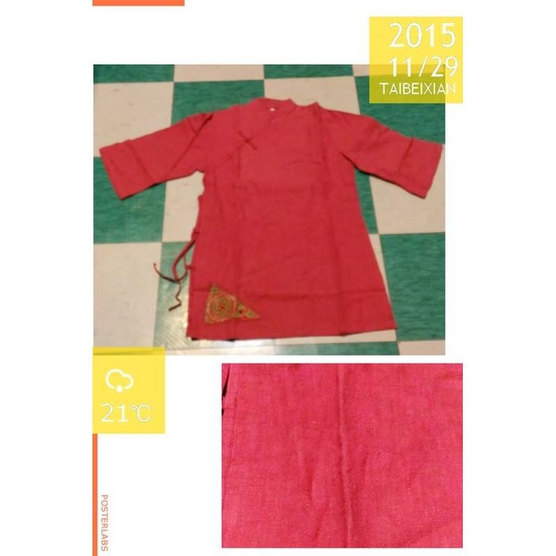 女裝棗紅色素面中國風棉質長袖七分袖中袖上衣 裝唐裝L 號一側開叉斜襟盤扣