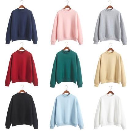 暖色系加絨素面純色加厚寬鬆棒球棉質長袖T 恤上衣9 色