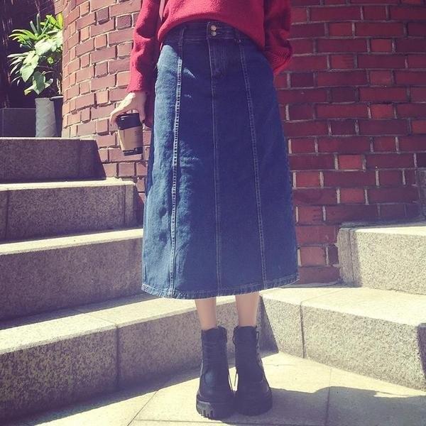 裁片雙線拼接牛仔一步裙半身長裙