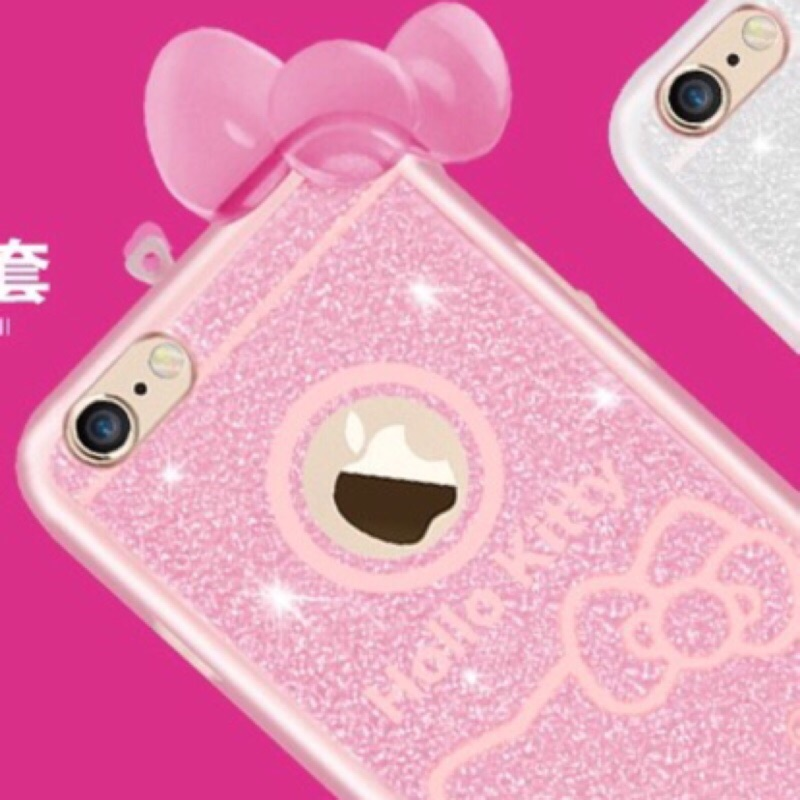 Apple IPhone5 IPhone5S 閃粉掛繩可愛HELLO KITTY 透明背蓋